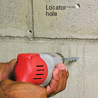 Drill locater hole