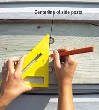 Mark centerline of side posts