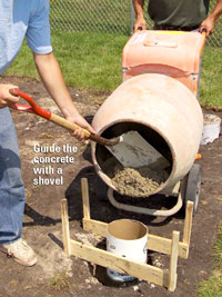 Guide concrete with shovel