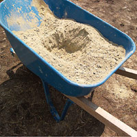 Concrete mix in large wheelbarrow