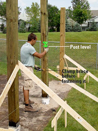 Setting and Cutting Posts, Plumb with post level