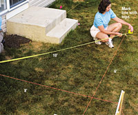 Laying Out The Deck, Check lines for square with 3-4-5 method