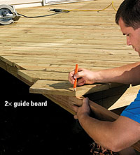 Angled decking, Mark decking for overhang