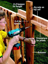 Attach baluster using jig