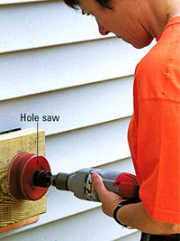 Cut with hole saw