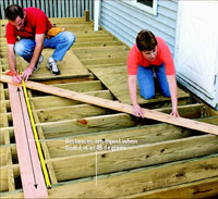 Lay decking at 45-degree angle to house