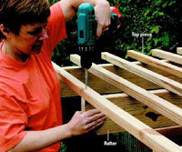 Building the pergola, Attach top pieces