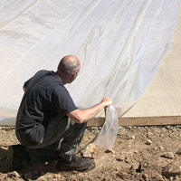 Cover concrete with plastic