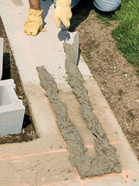 Laying mortar bed