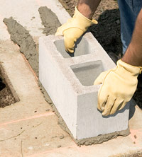Press corner block into mortar