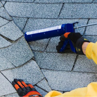 Apply roofing cement