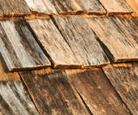 Split wooden shingles