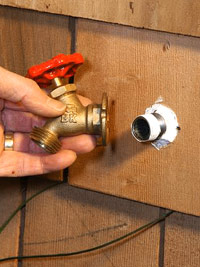 Caulk gap around spigot