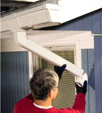 Installing Gutters, Slip on second elbow