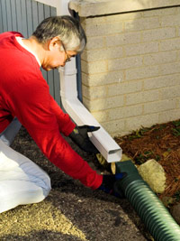 Install downspout
