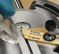 Place template in mitersaw