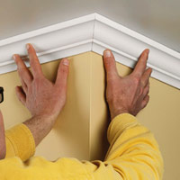 Install mitered crown molding