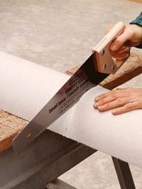 Cut column with handsaw