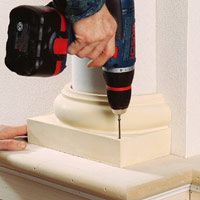 Installing Decorative Columns, Drive screws into plinth base