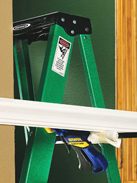 Clamp with stepladder supporting trim