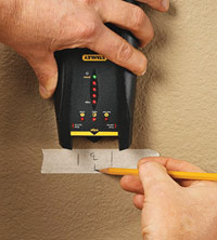 Mark scarf location with stud finder