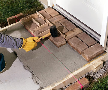 Building a mortared brick walk sand set mortared for How to make cement at home