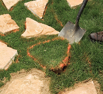 Stepping stone paths sand set mortared patios - Stepping stones for walkways ...