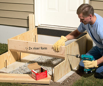 how to make forms for concrete steps