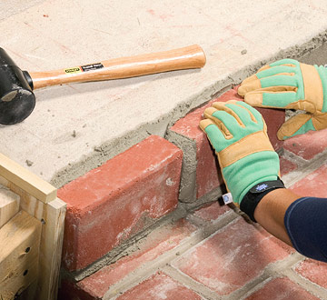 Finishing steps with mortared brick sand set mortared - How to tile concrete stairs ...