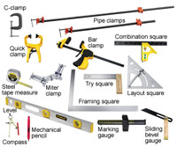 Measuring, marking and joining tools