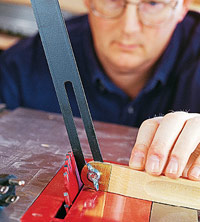 Transfer angle to tablesaw