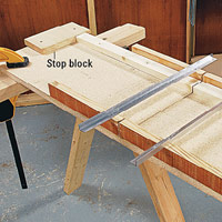 Stop block on crosscut jig