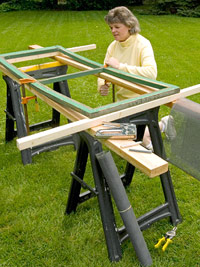Clamp window to sawhorses