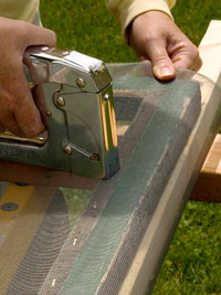 Staple screening to wood