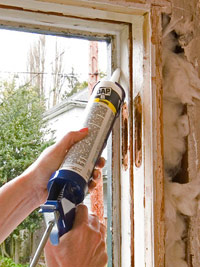 Apply bead of caulk
