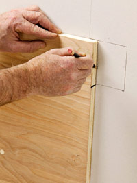 Mark drywall using jig