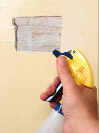 Moisten edges of plaster and lath