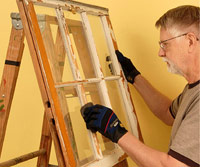 Set window sash on ladder easel
