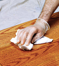 Remove excess with lint-free cloth