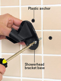 Attach showerhead bracket base