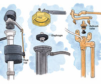 Three types of fill valves