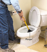 Using toilet plunger