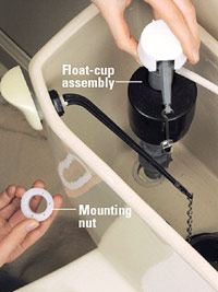 Insert new float cup assembly