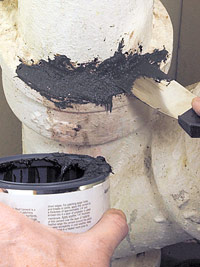 Fill void with cast-iron repair paste
