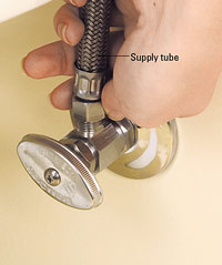 Replace supply tube with flexible braided tube