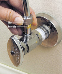 Fasten the nut and ferrule to stop valve