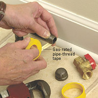 Apply gas-rated pipe-thread tape