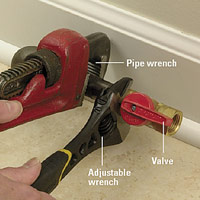 Tighten the valve in place