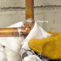 Wipe joints with a damp rag