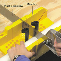 Cutting pipe with plastic-pipe saw